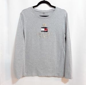Tommy Hilfiger sequin flag logo gold crown tee